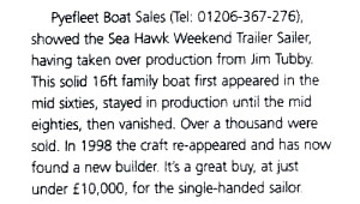 Text about SeaHawk from Show Report