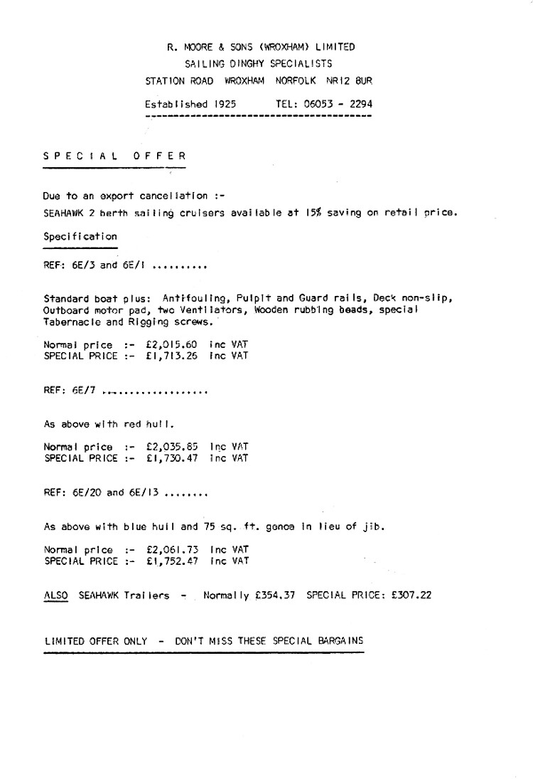 The 1986 SeaHawk Price List