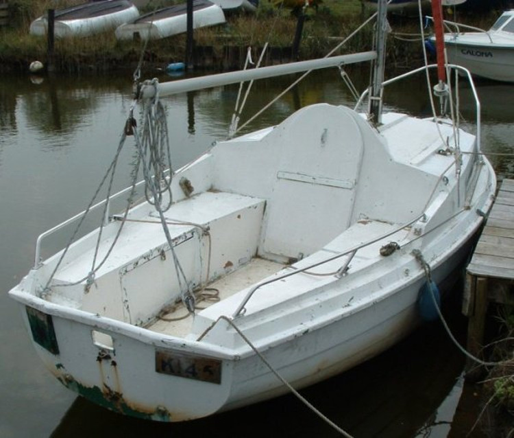 An older SeaHawk moored at the Pleasure Boat