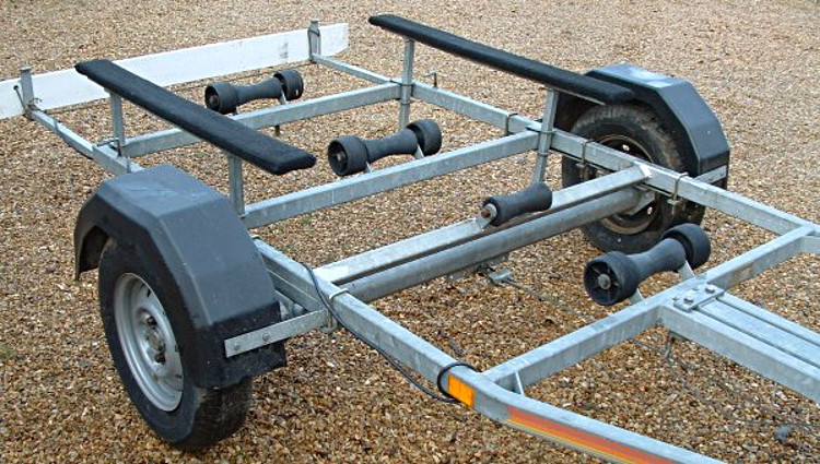 Converted Speedboat Trailer with axle moved
